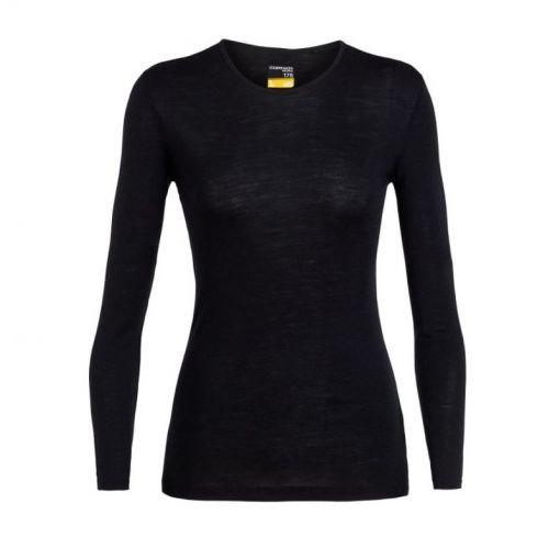 Icebreaker dames thermo shirt lange mouw 175 Ev - Zwart
