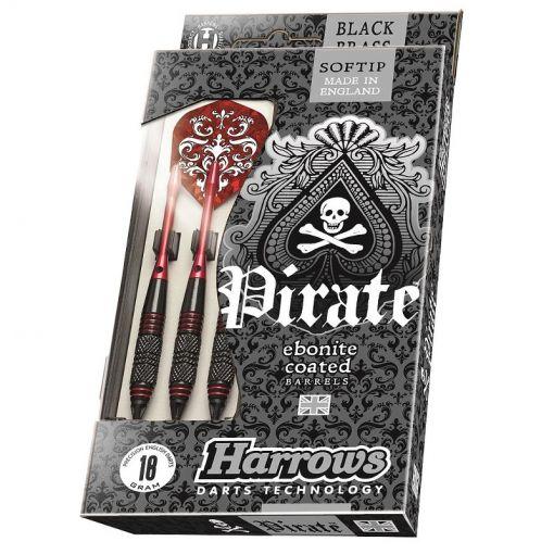 Harrows dartpijlen Pirat Softtip - Zwart