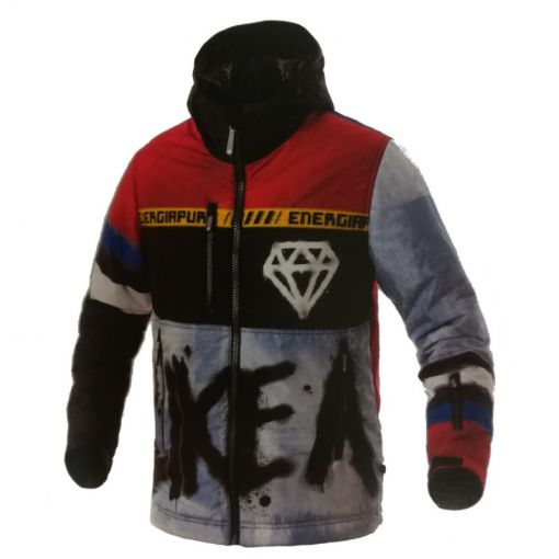 Energiapura heren ski jas With Hood Diamond Printe - E570 Red/Black/White
