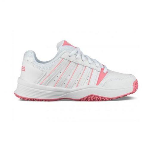 K-Swiss meisjes tennis schoen Court Smash - White/Pink Lemo