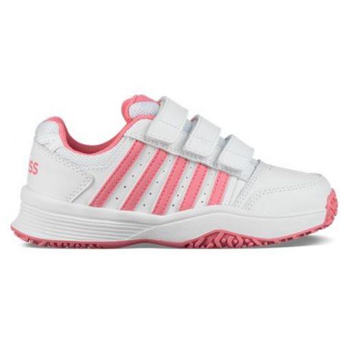 K-Swiss meisjes tennis schoen Court Smash Strap - White/Pink Lemo