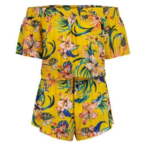 Shiwi dames jumpsuit Sayulita Offshoulder - Geel