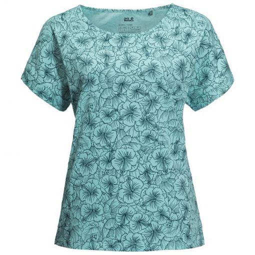 Jack Wolfskin dames t-shirt Hibiscus Flower - Licht blauw