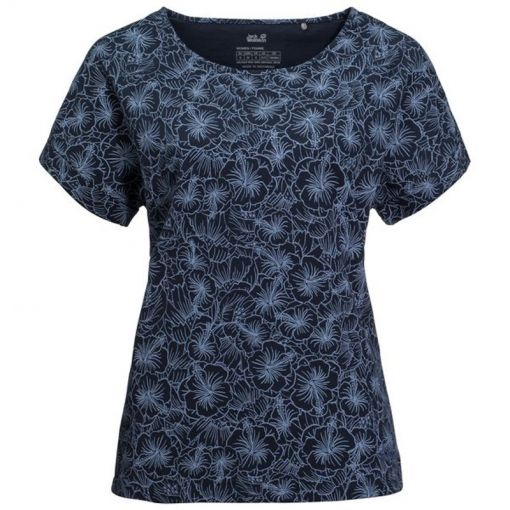 Jack Wolfskin dames t-shirt Hibiscus Flower - 777 Midnight Blue