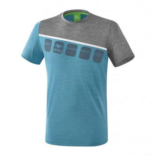 Erima junior tennis shirt 5-C Function - Oriental Blue/Grey Melange