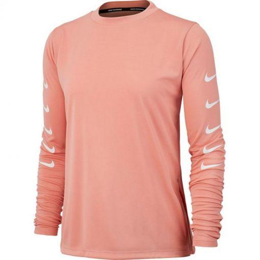 Nike dames hardloop shirt Swoosh Run Half-Zip - 606 PINK QUARTZ/WHITE