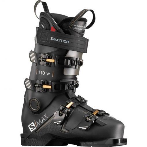 Salomon dames skischoen S/Max 110 W CHC - STD BLACK-Golden-Glow-Metallic