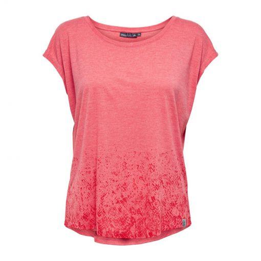Only dames t-shirt Python Curved Burnout SS - 215415002 Flame Scarlet/MELANG