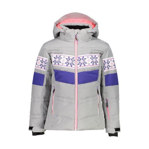 CMP meisjes ski jas Snaps Hood - U403 Silver Melange