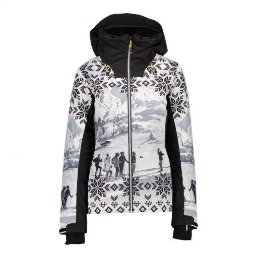 CMP dames ski jas Fix Hood - 18ZD Bianco Nero