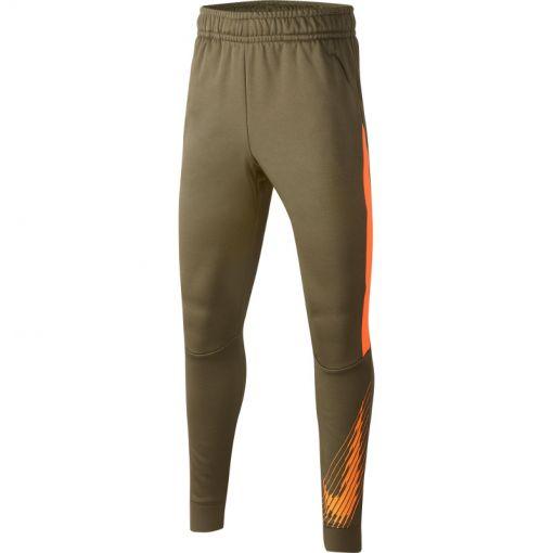 Nike junior trainingsbroek Therma GFX TAPR Pant - 222 MEDIUM OLIVE/TOTAL ORANGE/