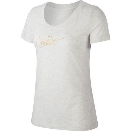 Nike dames t-shirt Tee Glitter 1 - 051 BIRCH HEATHER/GOLD