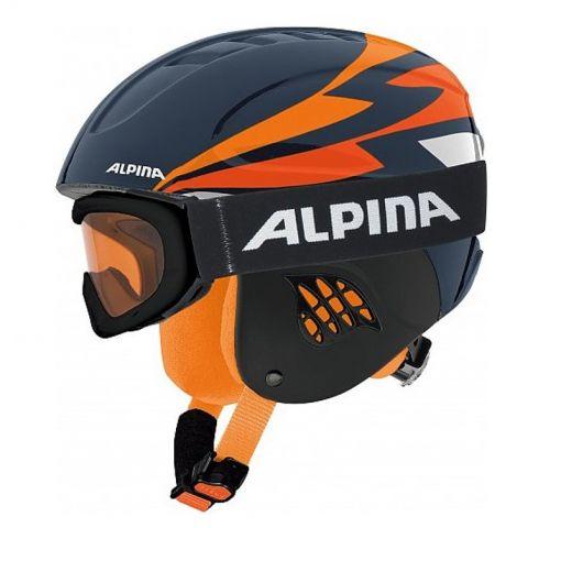 Alpina junior skihelm + skibril Carat - 32 Schwarz/Orange