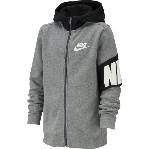 Nike jongens vest Full-Zip Hood - 091 CARBON HEATHER/BLACK/WHITE