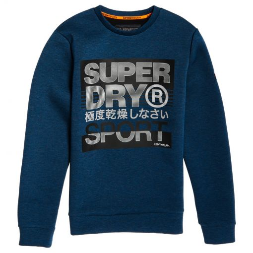 Superdry heren trui Core Gym Tech Crew - P4G Deep Teal