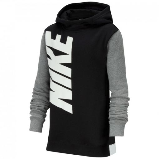 NIKE SPORTSWEAR BOYS' PULLOVER HOO - 010 BLACK/CARBON HEATHER/WHITE