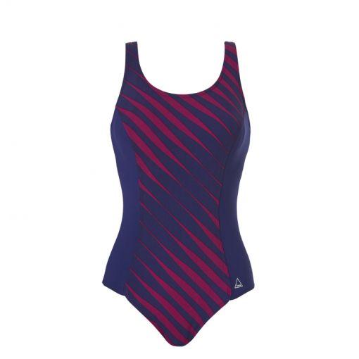 Tweka dames badpak Pool Swimsuit Shape Soft Cup - 2080 Flowy Lines Dark Fuchsia