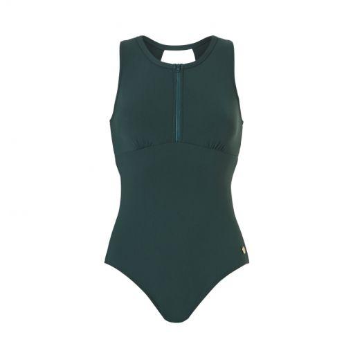 WOW dames badpak Zipper Swimsuit - 2095 sea moss