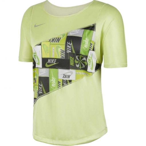 Nike dames t-shirt Women's Running Top - 367 LIMELIGHT/REFLECTIVE SILV