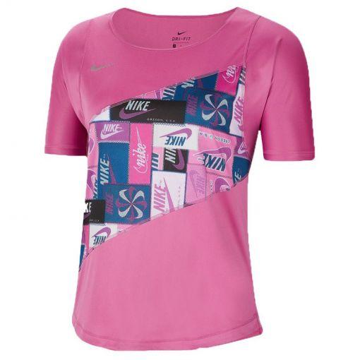 Nike dames t-shirt Women's Running Top - 691 COSMIC FUCHSIA/REFLECTIVE