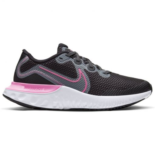 NIKE RENEW RUN BIG KIDS' RUNNI,BLA - 092 BLACK/PINK GLOW-LT SMOKE G