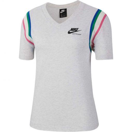 Nike dames t-shirt Sportswear Heritage Top - 051 BIRCH HEATHER/BLACK