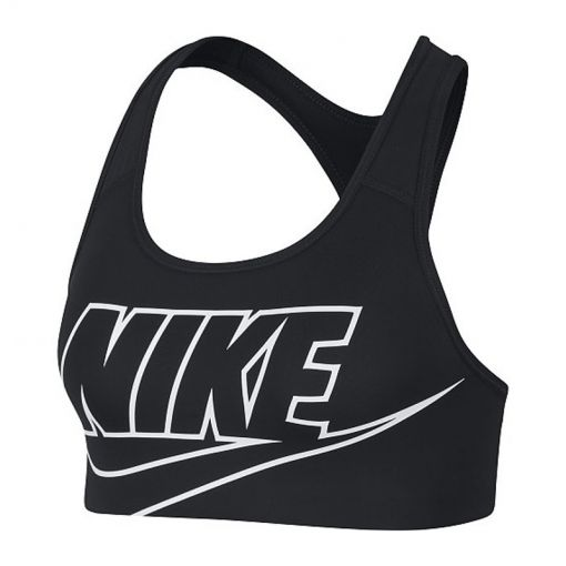 Nike dames sport bh Swoosh Women's Medium-Sup - Zwart