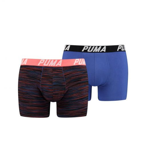Puma heren boxers Spacedye Stripe Box - 030 Blue/Orange