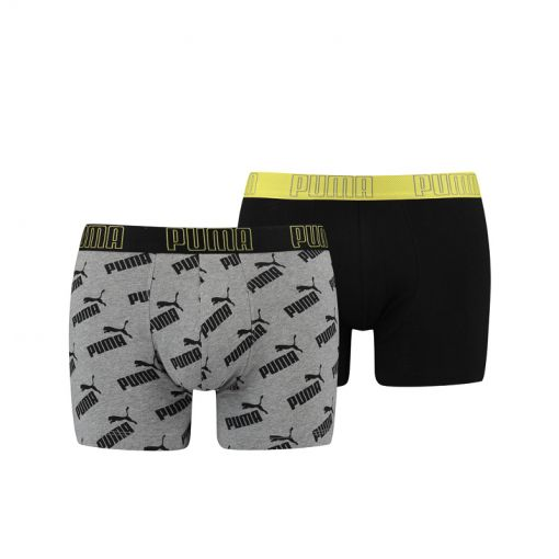 Puma heren boxers Big Logo Aop - 020 Yellow/Grey Melange