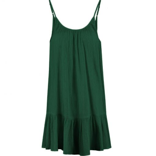 Ladies Tiered Spaghetti Dress - 774 Hunter Green