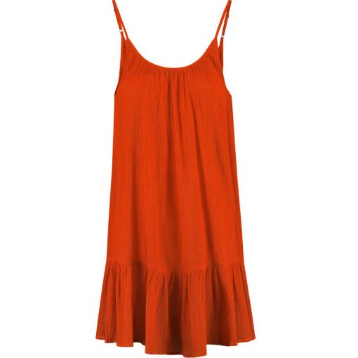 Ladies Tiered Spaghetti Dress - 324 Tropic Red