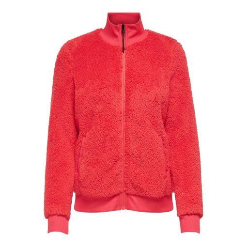 Only dames vest Jael Fluffy Zip Jacket - Rood