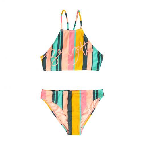 Camellia Stripe JR  Girls Bikini - 0656 Ionian Green
