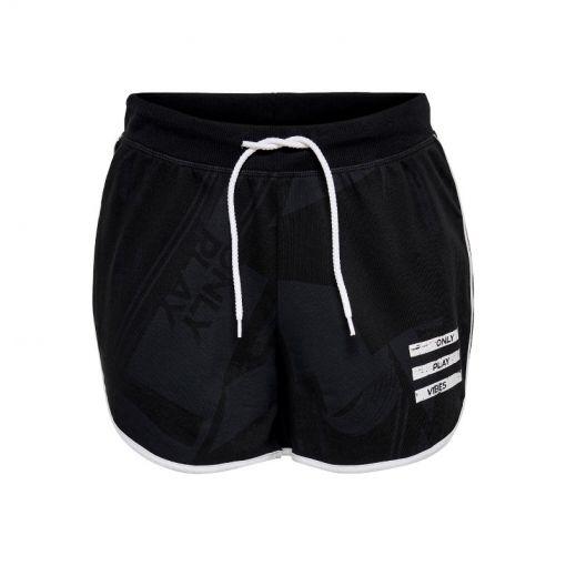 Only dames short Maureen Life Sweat Shorts - 177911002 Black/AOP W. WHITE