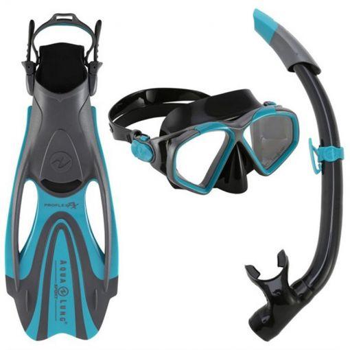 Aqua Lung snorkelset + zwemvliezen Hawkeye - Dark Green/Black