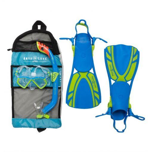 Aqua Lung junior snorkelset + zwemvliezen Regal - Blauw