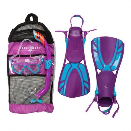Aqua Lung junior snorkelset + zwemvliezen Regal - Purple/Turquise