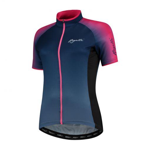 Rogelli dames wielershirt KM Glow - Blauw/ Roze