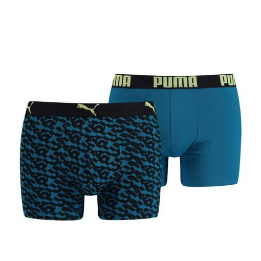 PUMA LOGO AOP BOXER 2P - 004 petrol blue