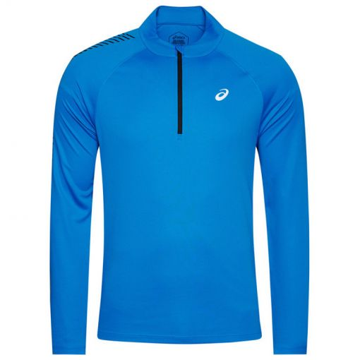 Asics heren t-shirt Icon LS 1/2 Zip - 400 DIRECTOIRE BLUE/PERFORMANC