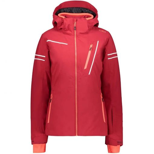 Woman Jacket Zip Hood - B873 Magenta Red