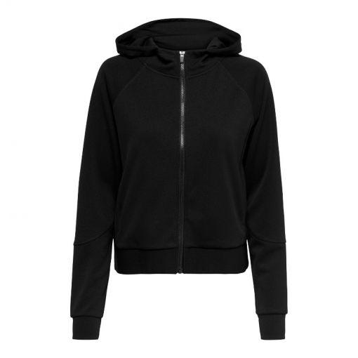 Only dames vest Nylah Zip Hood Sweat - 177911003 Black/w. White