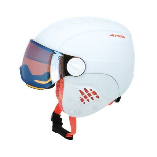 Alpina junior skihelm Carat - 15 White/Flamingo