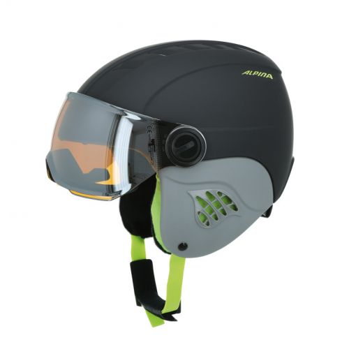 Alpina junior skihelm Carat - 31 Charcoal/Neon Matt