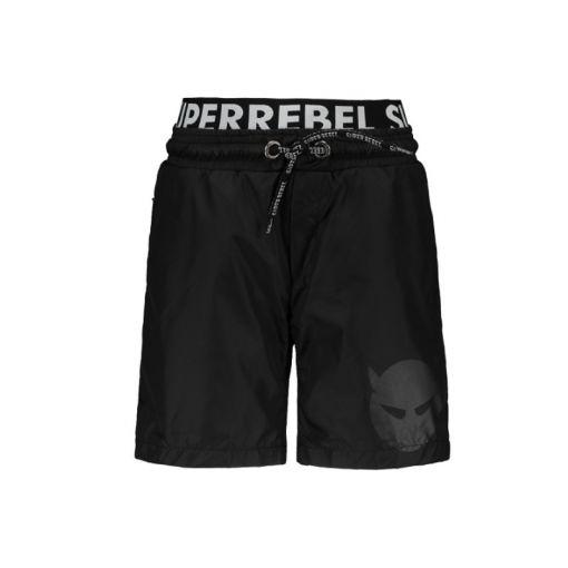 Superrebel Solid Swim Short With - Zwart