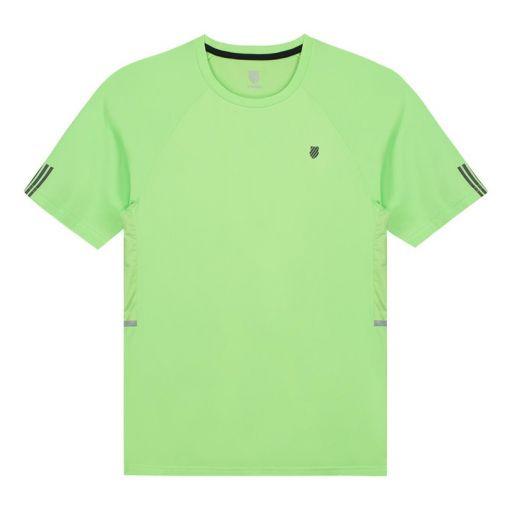 K-Swiss heren tennis t-shirt Hypercourt Crew 2 - STD SOFT-NEON-GREEN
