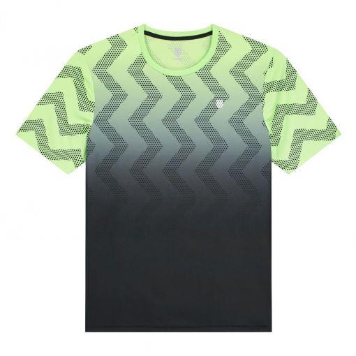 K-Swiss heren tennis t-shirt Hypercourt Print Crew - STD SOFT-NEON-GREEN---BLUE-GRA