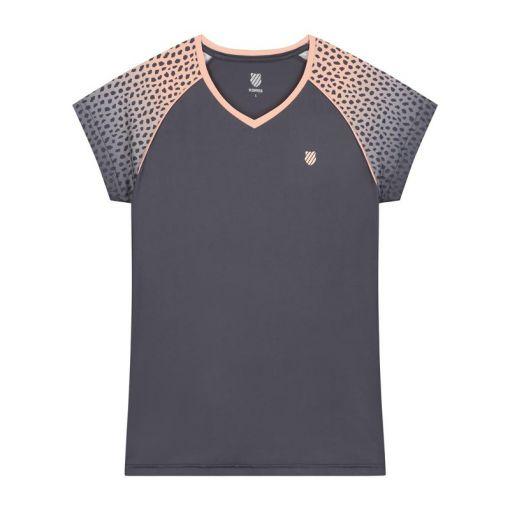 K-Swiss dames t-shirt Hypercourt Top - STD GRAYSTONE---PANTHER-PRINT