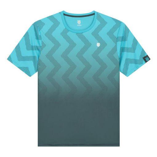 K-Swiss heren tennis t-shirt Hypercourt Print Crew - Scuba Blue/Drk Shadow