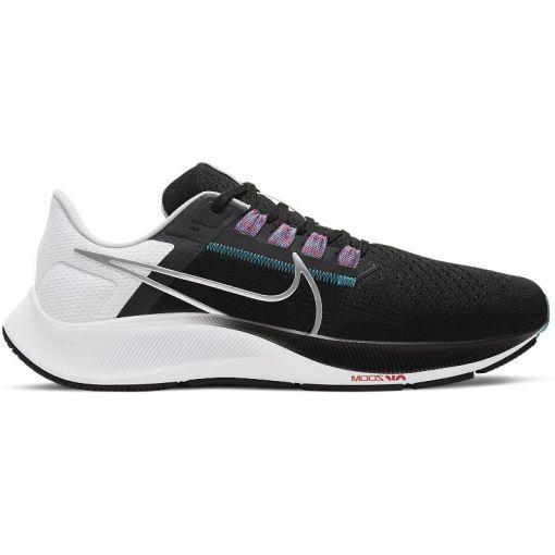 Nike heren hardloopschoen Pegasus 38 - 003 BLACK/METALLIC SILVER-WHIT